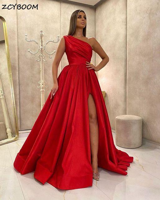 Red One Shoulder Split Prom Dress 2021 Women Formal Party Night Vestidos De Gala A-Line Satin Elegant Simple Long Evening Gowns 1