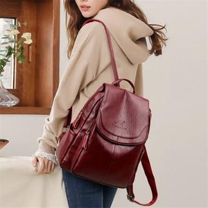 Image 3 - Женский кожаный рюкзак, дизайнерские сумки через плечо для женщин 2020, школьные сумки для девочек подростков, Mochila Feminina