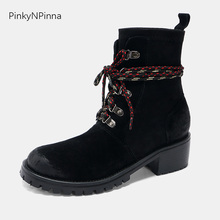 women black ankle boots cow leather suede laced up chunky heels round toe western riding wild outdoor winter ladis booties shoes fashion brand luxury buckle suede leather boots round toe kanye west cow leather chunky heel combat london ankle booties