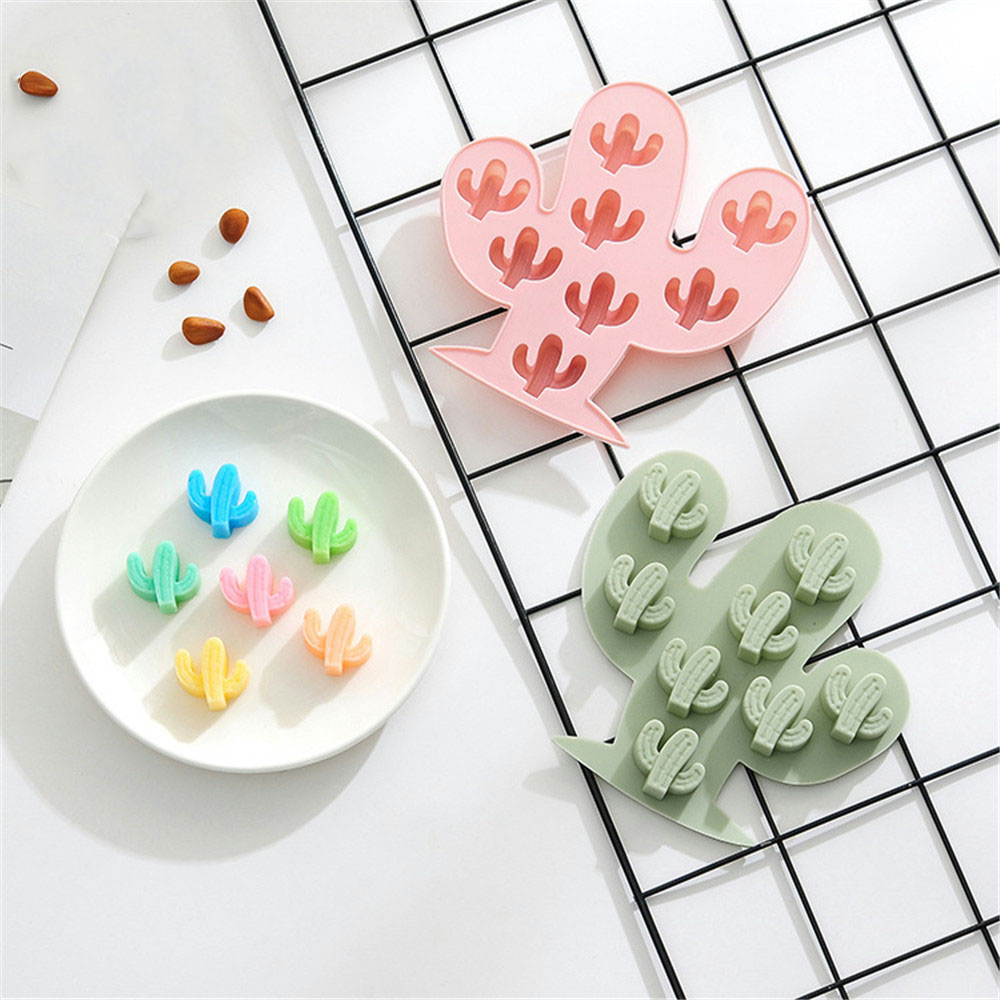 8 Grid 3D Cactus Silicone Chocolate Mold <font><b>Fondant</b></font> <font><b>Cake</b></font> <font><b>Decorating</b></font> <font><b>Tools</b></font> Candy Pastry DIY Molds Ice Kitchen <font><b>accessories</b></font> For Baking image