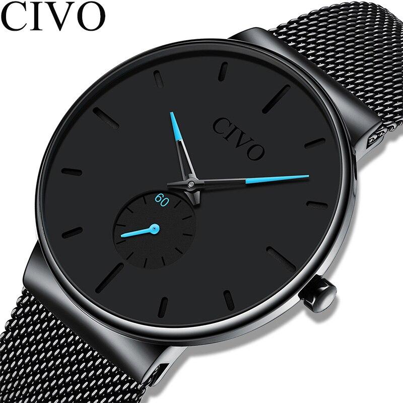 Reloj Hombre CIVO New Mens Watches Top Brand Luxury Quartz Wrist Watches Men Mesh Steel Waterproof Sport Clock Relogio Masculino