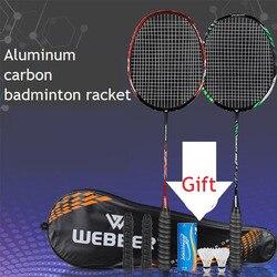Juego de raquetas de bádminton profesionales de 2 uds, raqueta de bádminton doble ultraligera de aleación de titanio, juego de bádminton más ligero