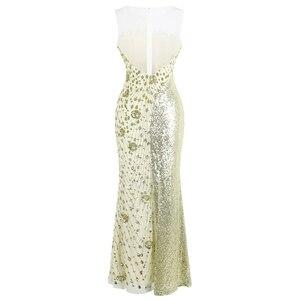 Image 2 - Robe de soirée forme sirène, robe de soirée, col rond, à la mode, robe de mariage, épissage, Champagne, 454