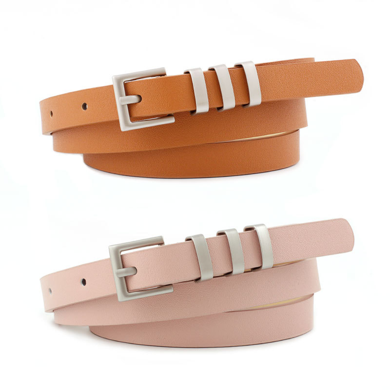 2020 New Designer Ladies Red White Black Brown Pink Thin Skinny Leather Belt Waistband Women Silver Pin Buckles Belts for Jeans