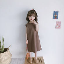 Korean Summer Girl Dress Solid Girls Straight Dresses 0-9 Years Old Baby Kids Clothes Crew Neck Short Sleeve Children's Clothes