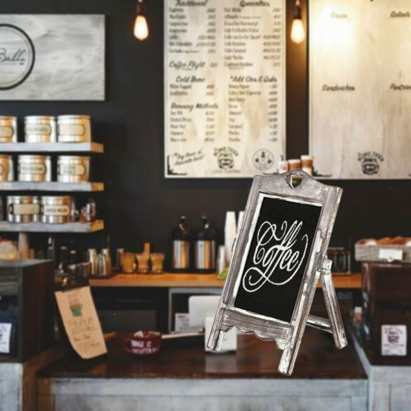 Wooden Desktop Memo Message Blackboard Chalkboard Easel Restaurant Restaurant