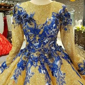 Image 4 - LS741100 shiny moslim vrouwen gelegenheid jurken 2018 lange mouw o nek blauwe bloemen golden baljurk avondjurk snelle bezorging