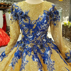 Image 4 - LS741100 shiny muslim women occasion dresses 2018 long sleeve o neck blue flowers golden ball gown evening dress fast shiping