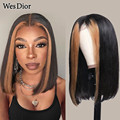 Выделите Короткие парик для Для женщин 13x4 бразильские Синтетические волосы на кружеве парики из натуральных волос на кружевной предварите...