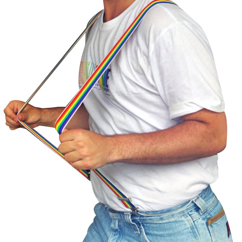 Unisex Wide Adjustable Y-Back Suspenders Rainbow Colorful Striped Belt With Clip Premium Quality