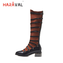 HARAVAL Fashion Woman Vintage Long Boots Luxury Flock Round Toe Square Heel Shoes Stitching Color Warm Soft Lady B283