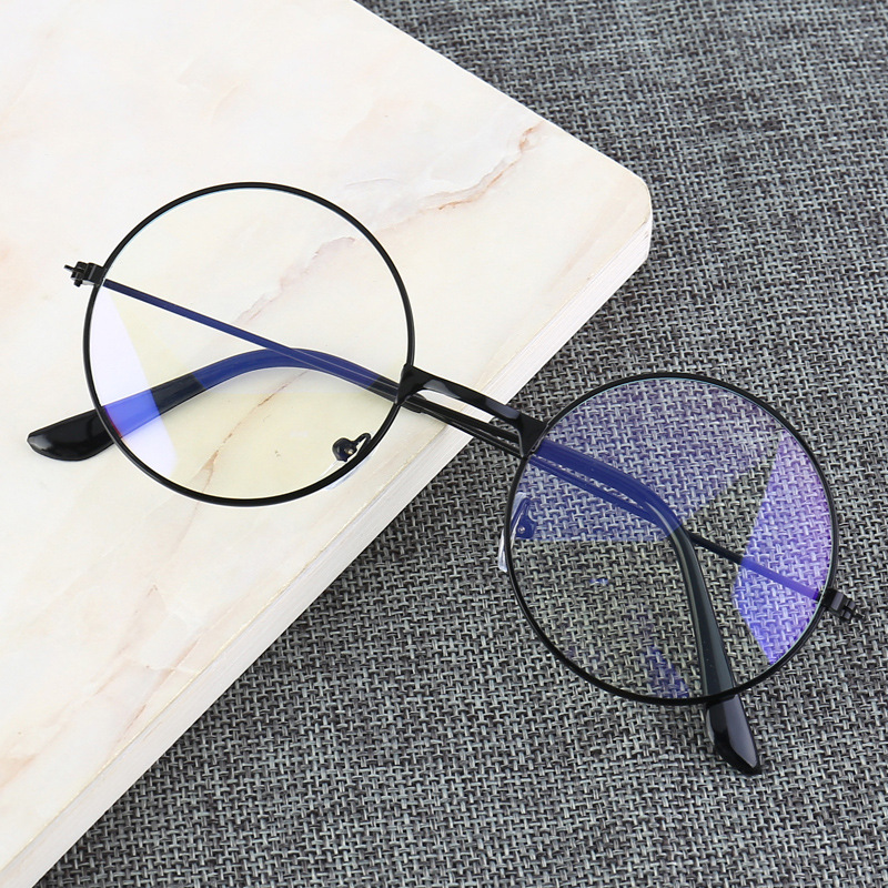 Vintage Round Metal Frame Blue Light Blocking Personality College Style Clear Lens Eye Glasses Eye Protection Mobile Phone Game