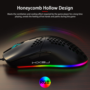 Image 4 - HXSJ J900 USB Wired Gaming Mouse RGB Gamer Mouses with Six Adjustable DPI Honeycomb Hollow Ergonomic Design for Desktop Laptop