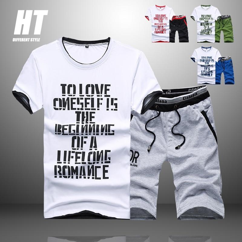 Мужской спортивный костюм из 2 предметов, футболка с коротким рукавом и повседневные штаны с принтом, лето 2021