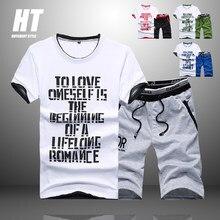 Conjuntos de verão moda 2021 manga curta t camisa de treino dos homens moletom + 2pc calças casuais masculino impressão sportwears roupas masculinas