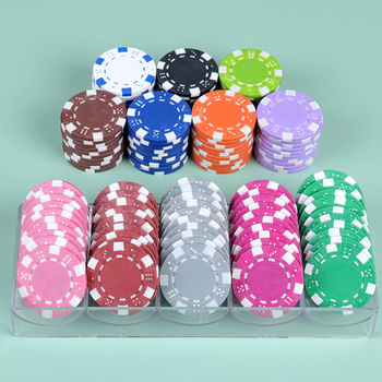 10PCS Poker Chips Accessories Multiplayer Game ABS+Iron+Clay Poker Chip Texas Hold'Em Poker Metal Coins Chips image