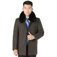 Winter Men Elegant Tweed Coats Black Gray Brown Fur Collar Wool Blend Overcoats Male Thicken Warm Woollen Fabric Liner Coat Man