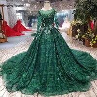 LSS291 зеленое вечернее платье с длинными рукавами и круглым вырезом ТРАПЕЦИЕВИДНОЕ мусульманское платье для матери невесты 2019 кружевное веч