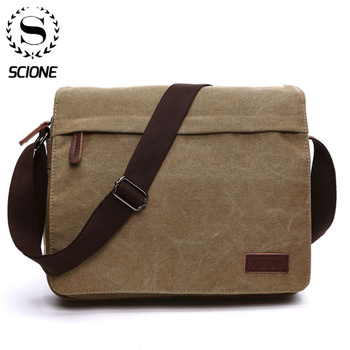 Scione Fashion Solid Canvas Messenger Satchel Bags Buckle Casual Portable Shoulder Bag Korean Trend Simple Pack For Men heroic knight shoulder bag men s korean trend messenger bag fashion young leisure retro casual street package hot selling bags