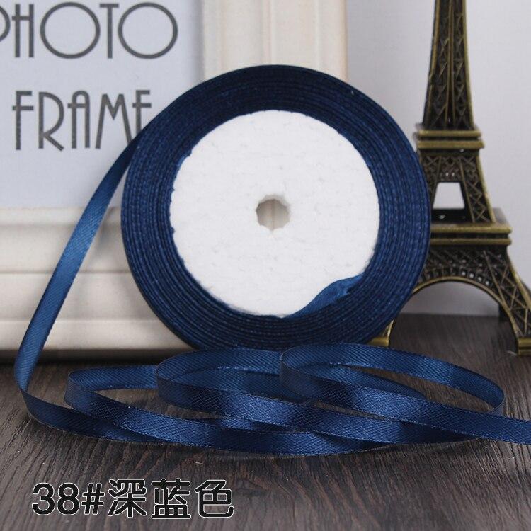 """22 метра(25 ярдов) Шелковая атласная лента 1/""""(6 мм) вечерние украшения для дома, свадьбы, подарочная упаковка, материал для рукоделия на Рождество, год - Цвет: dark blue"""