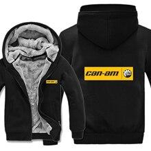 Мужская толстовка на молнии с логотипом Can Am, флисовый утепленный пуловер в полоску