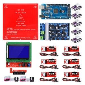 Image 1 - Reprap רמפות 1.6 ערכת עם מגה 2560 r3 + Heatbed MK2B + 12864 LCD בקר + DRV8825 + מתג מכאני + כבלי עבור 3D מדפסת