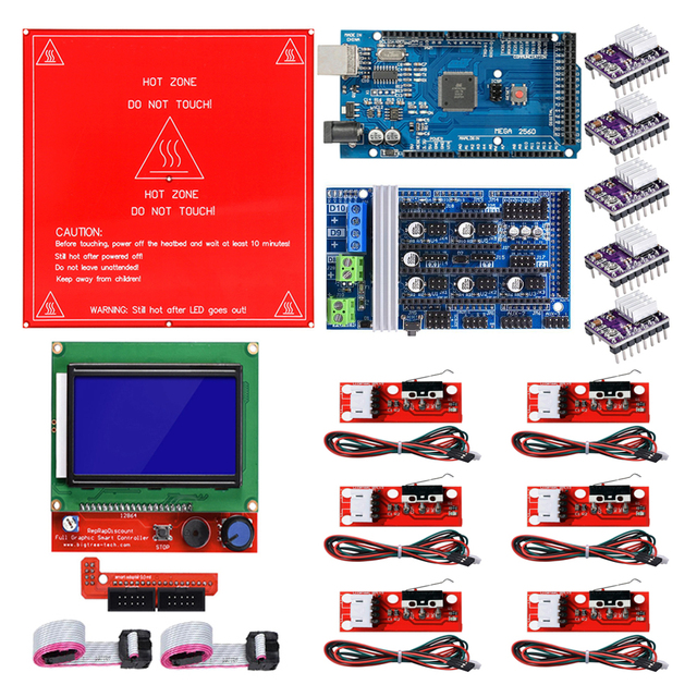Reprap רמפות 1.6 ערכת עם מגה 2560 r3 + Heatbed MK2B + 12864 LCD בקר + DRV8825 + מתג מכאני + כבלי עבור 3D מדפסת