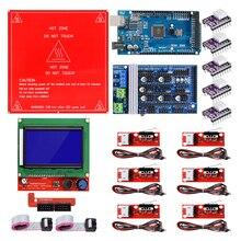 Reprap Kit avec rampes Mega 1.6 r3, lit chauffant MK2B, contrôleur 2560 LCD, DRV8825, interrupteur mécanique, câbles pour imprimante 3D, 12864
