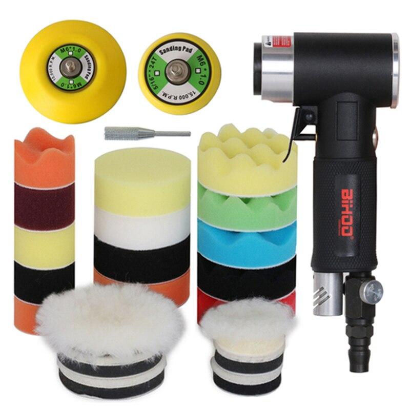 Havalı zımpara parlatma makinesi 2/3 inç parlatma pedi sünger disk seti pnömatik parlatma değirmeni araba parça parlatma makinesi