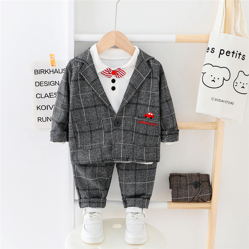 HYLKIDHUOSE 2020 Spring Baby Boys Coats Gentleman Style Cartoon Car Plaid Coats T Shirt Pants Children Toddler Infant Clothes