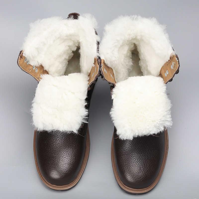 Naturale Scarpe di Lana di Inverno Degli Uomini Più Caldo Genuino Scarponi da Neve Stivali Invernali in Pelle Fatti a Mano Degli Uomini di # YM1568