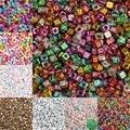 Буквы круглые акриловые бусины на плоской подошве, с надписью, комплект из куб Свободные Spacer Бусины для изготовления ювелирных изделий ручн...