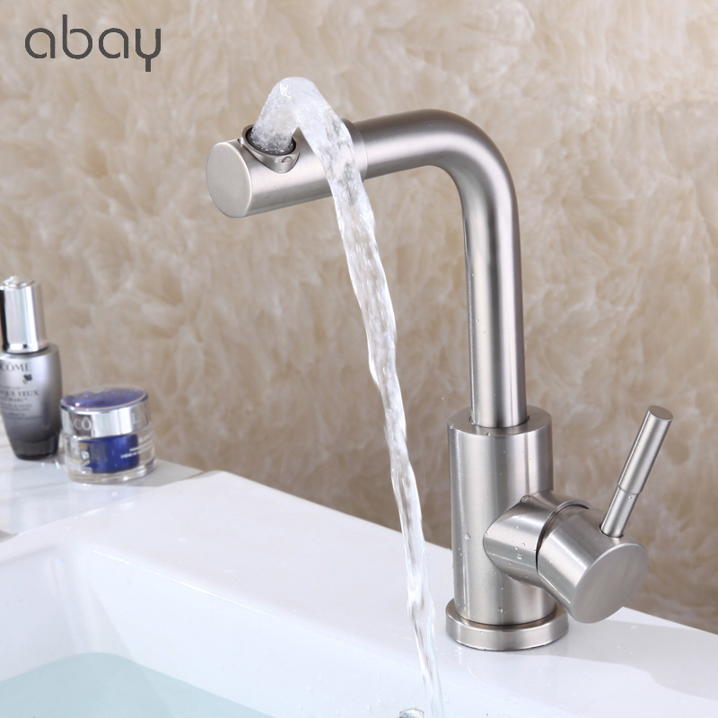 360 ° Rotary Brushed Kitchen Faucet, Brass Spool Kitchen Sink Faucet, Right Angle Hot And Cold Mixed Faucet, Washbasin Faucet