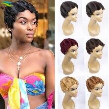 זול פאות פיקסי Cut פאות ללא רמי מכונת עשתה אצבע גל קצר שיער טבעי פאות לנשים שחורות # 1B #2 #4 #30 #27 # 99j