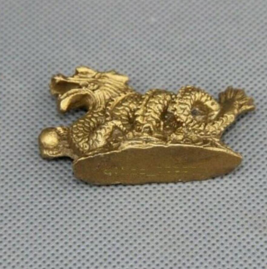 FengShui Chinese Folk Bronze Copper Stand Year Zodiac Dragon Statue Sculpture
