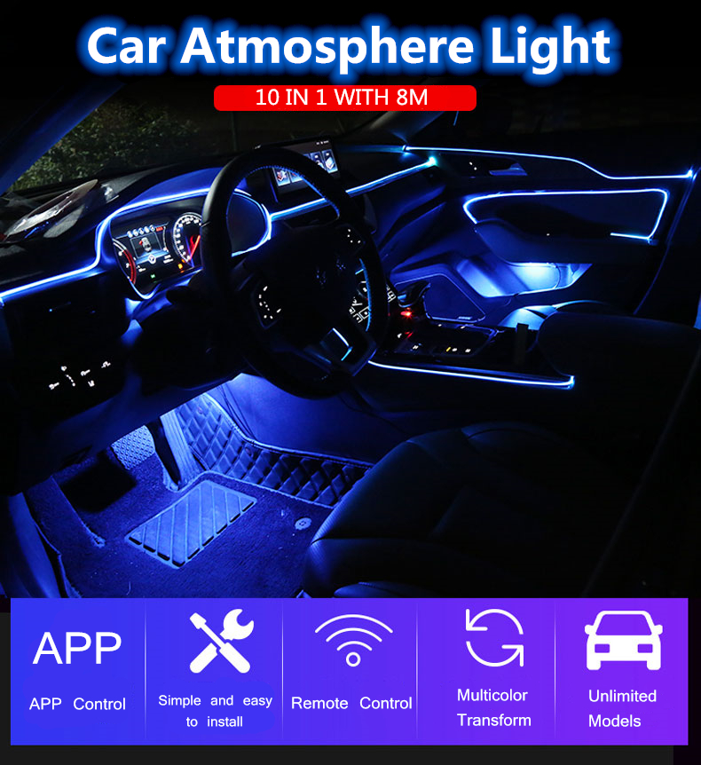 10 in 1 RGB LED with 8M Interior decoration car fiber optic strip light by App Control 12V decorative atmosphere lamps Universal