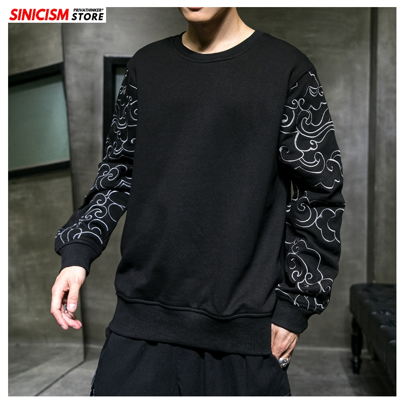 Sinicism Store Men Chenses Style Embroidery Fashion Sweatshirts Mens 2020 Spring O-Neck Hoodies Male Streetwear Clothes Oversize