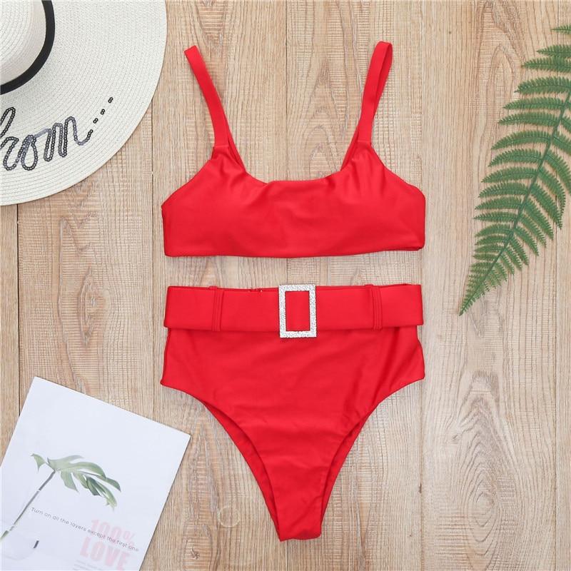 Peachtan High waist swimsuit female Plaid mesh bikini set 2020 Ruffle swimwear women Transparent bathing suit Vintage biquini 5