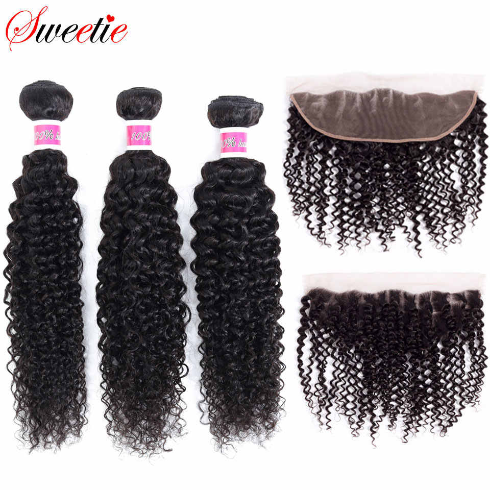 Sweetie Hair Afro Kinky Curly Lace Frontal With Bundles Brazilian Human Hair Weave Bundles with Lace Frontal Closure Non Remy
