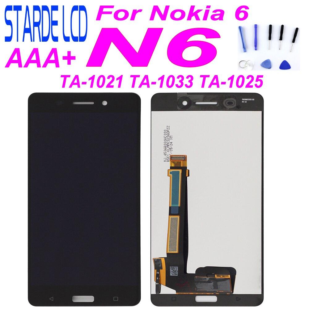 """STARDE remplacement LCD pour Nokia 6 N6 LCD écran tactile numériseur pour TA-1021 TA-1003 TA-1033 TA-1025 TA-5.5 assemblage noir"""""""
