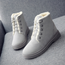 2019 New Snow Boots Women Warm Fashion Winter Lace Up Flat Heel Platform Plush Ankle Black Rubber