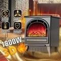 220V calentador de chimenea eléctrico 1800W 3D simulación de incendios chimenea eléctrica calefactor vertical para la oficina del hogar