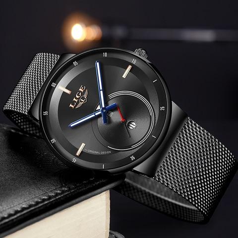 LIGE Mens Watches 2019 New Fashion Casual Black Quartz Watch Men Unique Dial Sport Waterproof Male Clock Relogio Masculino+Box Islamabad