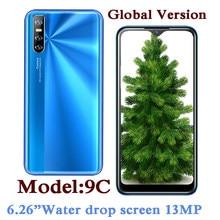 9C czterordzeniowy globalnego smartfonów 4G RAM 64G ROM 13MP kamery 6.26 cal ekranu kropli wody telefonów komórkowych z systemem Android Face ID Celulares