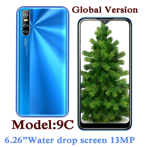 9C Quad Core Global Smartphones 4G RAM 64G ROM 13MP Camera 6.26 inch Water Drop Screen Android Mobile Phones Face ID Celulares