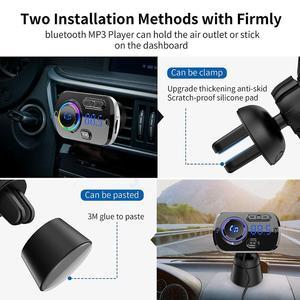 Image 5 - Bluetooth 5.0 Auto Fm zender Auto Fm Modulator Audio Receiver Draadloze MP3 Speler Tf Card Fast Charger Met 7 Kleuren lamp