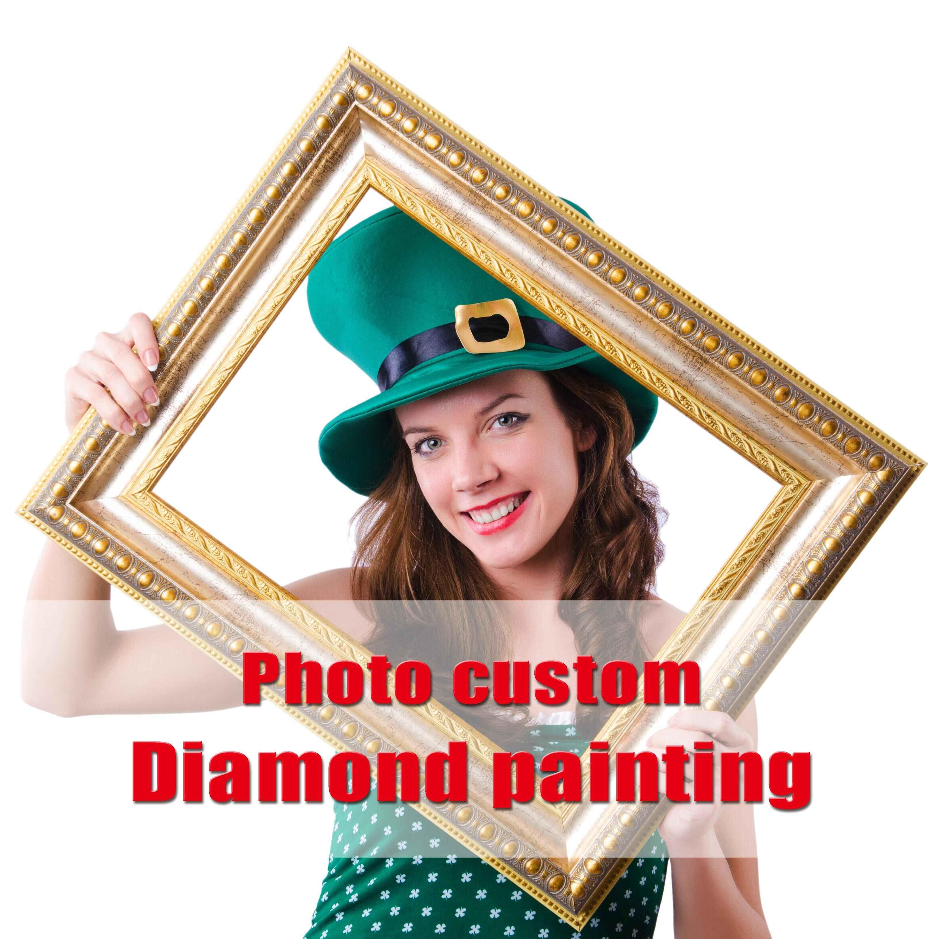 写真のカスタムダイヤモンド塗装クロスステッチフル画像ラインストーンホームオフィスの結婚式の装飾ギフト