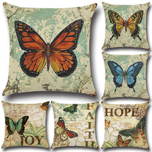 1Pcs Butterfly Printed Polyester Throw Pillow Cushion Cover 45 45cm Home Decoration Sofa Bed Seat Car