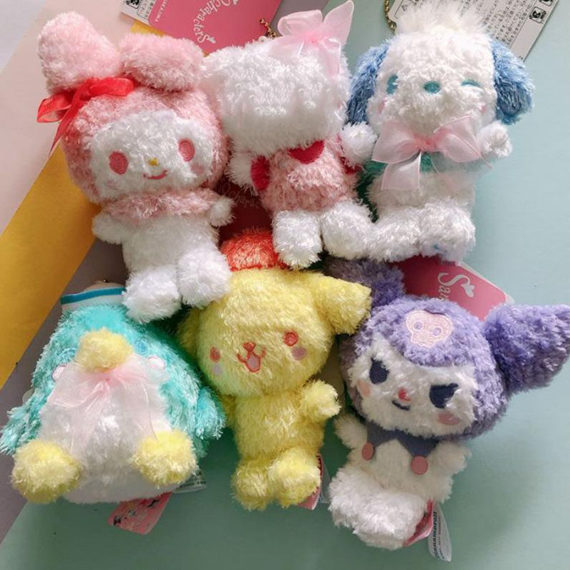 1pc Cute Cartoon Pudding Cinnamoroll Dog Pc Dog Plush Doll Lovely Melody Kuromi Bag Pendant Plush Toys Girl Gift