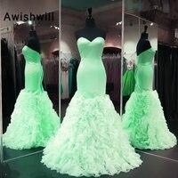Новое поступление, Зеленое Длинное платье для выпускного вечера, Русалка длиной в Пол, со шнуровкой сзади, с оборками, вечернее платье,